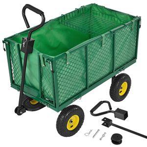 Juskys Metall Gartenwagen mit herausnehmbarer Plane 550 kg belastbar – Handwagen mit Luftreifen & Stahlfelgen – Seitenteile klappbar – Transportwagen