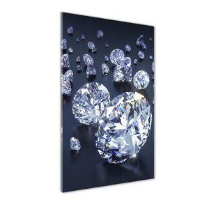 Tulup® Glas-Bild Wandbild aus Glas - 50x100 - Wandkunst - Wandbild hinter gehärtetem Sicherheitsglas - Dekorative Wand für Küche & Wohnzimmer - Sonstige - Diamanten - Weiß