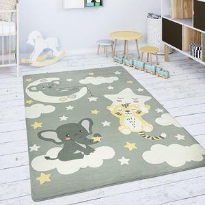 Kinderteppich Teppich Kinderzimmer Spielmatte Stern Wolke Mond Grau Weiß, Grösse:150 cm Rund