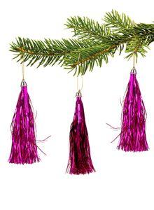 10  Lamettini Pink Lametta Anhänger Weihnachtsanhänger