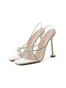 Damen High Heels Sommer Stilettos Offene Zehen Sandalen Mode Flip Flops,Farbe:Weiß,Größe:36