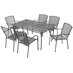 Gartenmöbel Essgruppe 6 Personen ,7-TLG. Terrassenmöbel Balkonset Sitzgruppe: Tisch mit 6 Stühle, Stahl Anthrazit❀7387