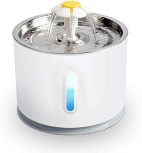 2.4L Pet Wasser Brunnen Trinkbrunnen für Haustiere mit LED-Licht Wasserspender für Katzen automatisch elektrisch für Haustiere