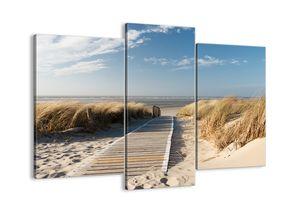 "Leinwandbild - 130x100 cm - ""Hinter der Düne, im Rascheln des Grases""- Wandbilder - Meer Strand Düne - Arttor - CB130x100-2657"
