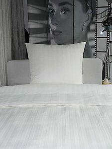 Angebot!! Hotelbettwäsche Bettwäsche Damast Streifen 23mm weiß 135x200/80x80 100% Baumwolle
