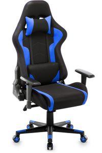 Gaming Stuhl Racing Bürostuhl Schreibtischstuhl Gamer Hoch Rücken Ergonomischer Stoff Stuhl, Blau