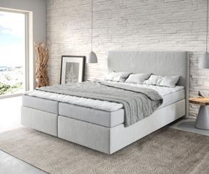 Bett Dream-Well Mikrofaser Silbergrau 160x200 cm mit Matratze und Topper