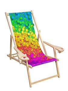 "PSYWORK Liegestuhl Armlehne Comfort Neon ""Fancy Rainbow Pixel"" inkl. Getränkehalter"