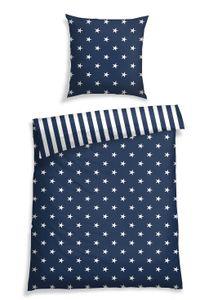 Schiesser Bettwäsche Sterne Blau, 100% Baumwolle, Größe: 135 x 200 cm + 80 x 80 cm