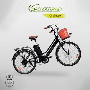 "SachsenRAD E-Bike Vintage E-Citybike C1 26"" inkl. Bastkorb, 6-Gang Kettenschaltung, Lithium Akku 36V/10Ah, Heckmotor 250,00 W, Bast Fahrradkorb"