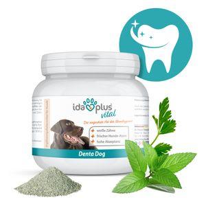 Denta Dog - kinderleichte Hunde Zahnpflege ohne Zähne bürsten - Hunde-Dental-Pflege stoppt Hunde Mundgeruch & sorgt für frischem Hunde-Atem - verhindert Hunde Zahnstein & Plaque - 100g – Ida Plus