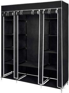 Kleiderschrank Höhe 175cm, Stoffschrank Faltschrank Garderobe mit Kleiderstange, 3 hochrollbaren Türen - 175cm*150cm*45cm - Schwarz - Meerveil