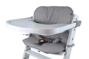 Universal Hochstuhl-Sitzkissen optimal Set mit Memory-Schaum Sitzverkleinerer-Auflage für Babystühle rutschfest Hellgrau