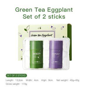 2 X Grüner Tee Purifying Clay Stick Mask Gesichtsmaske, Stick Deep Cleansing Ölkontrolle Anti-Akne-Maske Fine Solid Mask Green Tea, Auberginen Mitesserentferner Poren schrumpfen