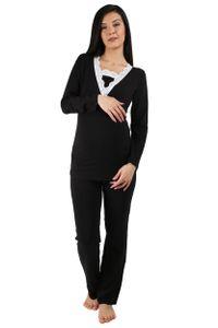 M.M.C. Umstandsnachtwäche Spitze Umstandspyjama Still-Pyjama Set M Schwarz