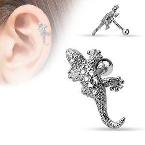 "Tragus Helix Cartilage Ohrring ""Eidechse / Gecko mit Zirkonia"""
