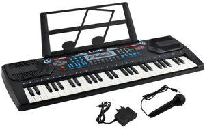 Digital Tragbares Keyboard mit 54 Tasten und  Notenständer 10 Songs  3 Soundeffekte 32 Schrittstufen 8238, Farbe:Schwarz
