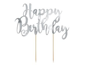 PartyDeco Cake Topper Happy - Birthday Silber