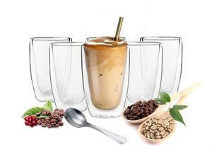 6 doppelwandige Cappuccino Gläser 200ml mit Edelstahl-Löffel Kaffegläser Teeglas