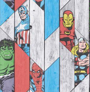 Marvel - Thor Spiderman Hulk Captain America Papiertapete - Holzoptik - Bunt - 10m x 52cm