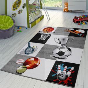 Kinder Teppich Sportwelt Fußball Pokal Tennis Kinderzimmer Teppich Grau Creme, Größe:160x220 cm