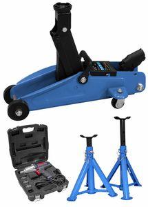 Güde Reifenwechsel-Set mit Wagenheber, Unterstellböcken und Schlagschrauber ESS 350, Blau