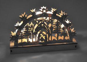 Holz-Schwibbogen 5 LEDs Lichterbogen Weihnachtsdeko Fensterdeko Adventsdeko, Design:Berg mit Sternschnuppe