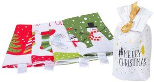 4er Set Geschirrtücher 30x50 cm 100% Baumwolle Weihnachten Gerich Geschirrtücher