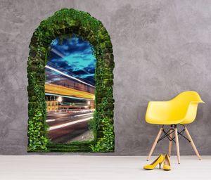 3D Wandtattoo Garten Tor Dschungel London Skyline Stadt abstrakt Kunst schnell Pflanzen Tür Gewölbe Wand Aufkleber Wandsticker 11FB537, Größe in cm:97cmx160cm