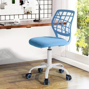 FURNITURER Buerostuhl Drehstuhl Schreibtischstuhl Buerostuhl Kinder Arbeitsstuhl hoehenverstellbar, gepolsterte Sitzflaeche- Blau