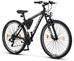 Licorne Bike Effect Premium Mountainbike - Fahrrad für Jungen, Mädchen, Herren und Damen - Shimano 21 Gang-Schaltung - Herrenrad, Farbe:Schwarz/Weiß (V-Bremse), Zoll:29.00