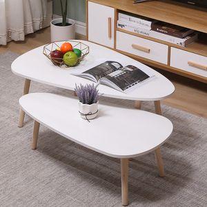 2er Set Beistelltisch Retro Couchtisch Kaffeetisch Wohnzimmer Design Tisch Weiß