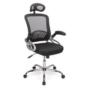 Futurefurniture® rotierender ergonomischer Bürostuhl mit hoher Rückenlehne aus Mesh mit umkehrbaren Armlehnen und verstellbarem Bürostuhl mit Kopfstütze (Schwarz)