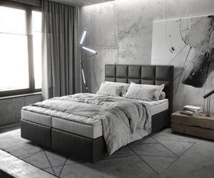 Boxspringbett Dream-Fine Kunstleder Anthrazit 140x200 mit Matratze und Topper