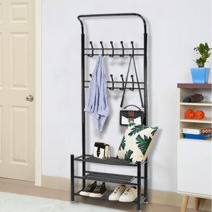 JEOBEST® Garderobenständer Metall Kleiderständer mit 20 Haken + 3 Schuhablagen 185x66x30cm |schwarz