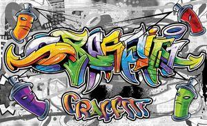 Fototapete Graffiti Kinderzimmer (254x184cm - 2 Bahnen) Jungs Moderne Wandtapete Tapete Latexdruck UV-Beständig Geruchsfrei Hohe Auflösung Montagefertig