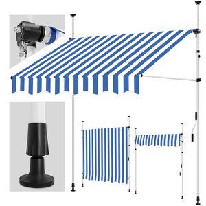 tillvex Balkonmarkise 350 cm Blau/Weiß Gelenkarm Markise Klemmmarkise Sonnenmarkise Balkon ohne Bohren