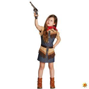 Mottoland Cowgirl Wilder Westen Western Kinder Kostüm Mädchen Cowboy Ranger Rodeo Sheriff Blau/Braun/Beige 152