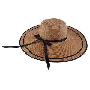 Frauen Breiter Krempe Strohhut Panamahut Sonnenhut Sommer Sonne Strand Hut Farbe Kaffee