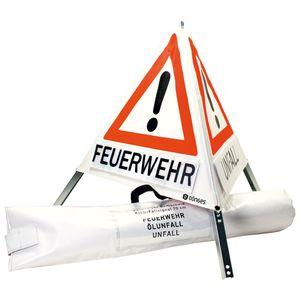 Dönges Faltsignal, 900 mm, Tagesleuchtfarbe, Feuerwehr, Unfall, Ölunfall