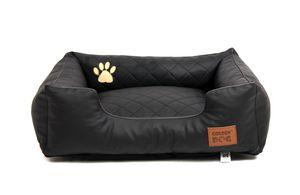 Hundebett Kunst Leder Steppy Schwarz L 90x70cm Hundekorb Hundesofa Katzenbett Bett Katzenkorb Katzensofa Mayaadi Home