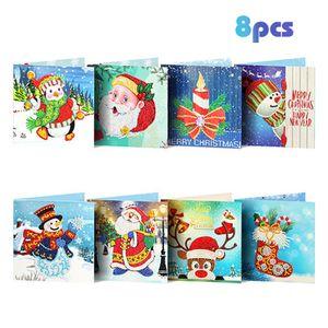Diamant Malerei Grußkarten Cartoon Weihnachten Geburtstag Postkarten 5D DIY Festival Stickerei Begrüßen Karten Geschenk
