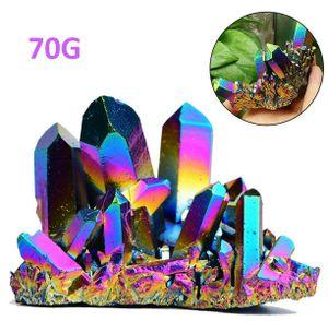 70g Natürliche Quarz Kristall Regenbogen Titan Mineral Heilstein Cluster Stab