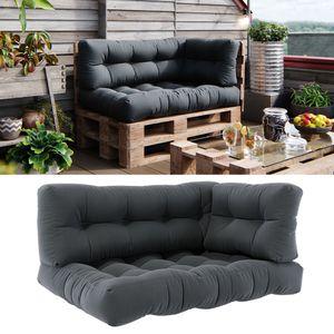 Vicco Palettenkissen Set Sitzkissen + Rückenkissen + Seitenkissen 15cm hoch Palettenmöbel Flocke anthrazit
