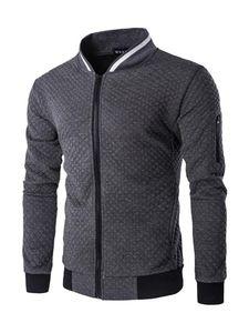 Karierte Jacke mit Stehkragen für Herren,Farbe: grau,Größe:L