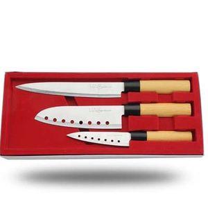 Traditionelles Asia Messerset | Extrem Scharf | Neu Edelstahl Design Messerset | 3-teilig mit ergonomischem Griff und rasierscharfen Klingen aus Edelstahl.