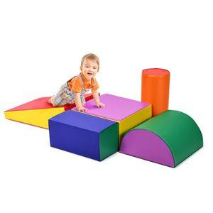 COSTWAY 5 tlg. Schaumstoffbausteine Bauklötze für Kleinkinder und Babys zum toben und klettern bunt