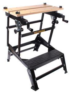 WELDINGER Werkbank 6-fach verstellbar Arbeitsplatte Bambus (Werktisch Spanntisch)
