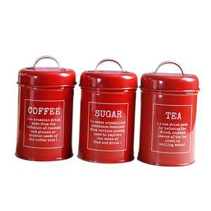 Teedose Blech Kaffeedose Aufbewahrungsdose für Tee Kaffee 3er Set Vorratsdosen Vorratsgefäß Vorratsbehälter Küche Lagerbehälter Farbe rot