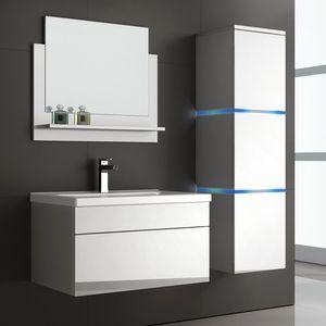 HOME DELUXE - Badmöbel WANGEROOGE L - Weiß (HB) Badezimmermöbel Waschbecken Unterschrank Spiegel